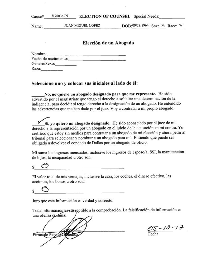 Juan Miguel López no tiene dinero para contratar un abogado