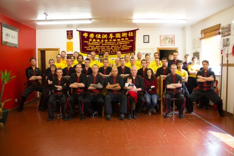 Class photo taken at the European Headquaters in Aberdeen on Sunday 19th May 2013. Si-Tai-Gung Pedro Cepero Yee sits centre next to Si-Gung Bruce Clark holding his baby daughter.