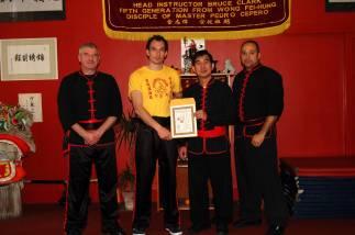 Sifu Hepple awarded the level of Jo Gow by Si Tai Gung Yee Chi Wai (2006)