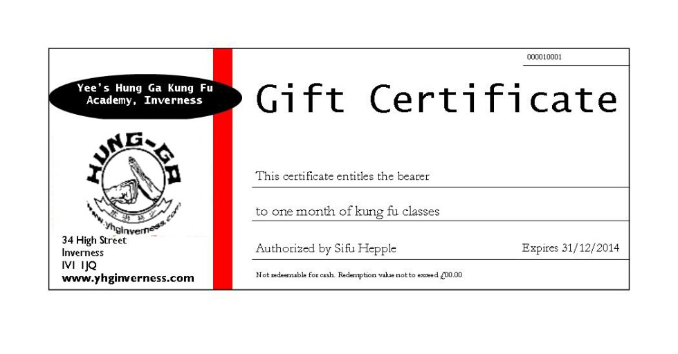 £50 Gift Certificate for Yee's Hung Ga, Inverness