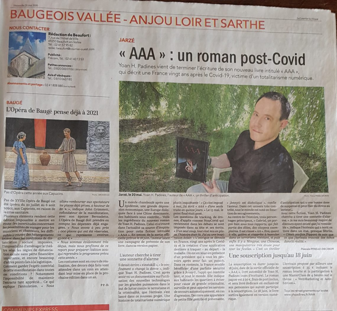article courrier ouest AAA yoan h padines