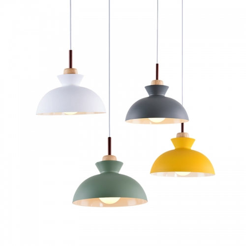 craftsman style dome shaped 1 light 11 02 w pendant light with yellow grey green metal shade