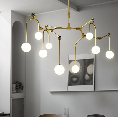 mid century modern 9 light branching chandelier in gold for foyer restaurant showroom lighting