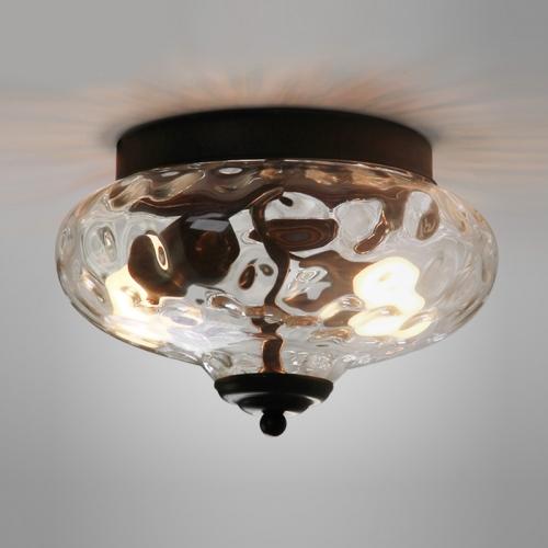 modern farmhouse 2 light flush mount ceiling light with hammer glass shade
