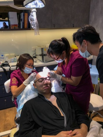 Meticulous team at Terra Medical during hair transplant surgery