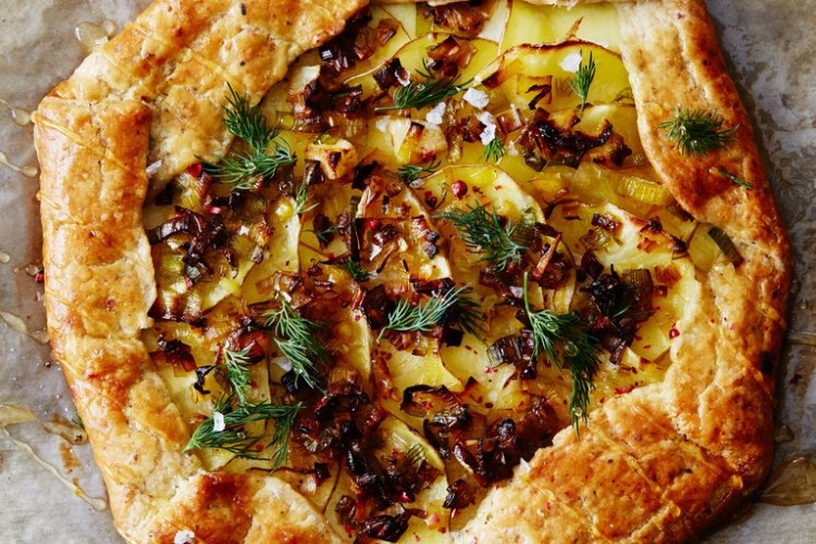 Leeky Potato Galette with Sunflower Crust