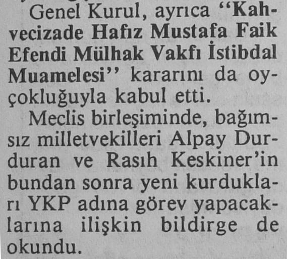 Bağımsız milletvekilleri Alpay Durduran ve Rasıh Keskiner'in YKP adına görev yapacak
