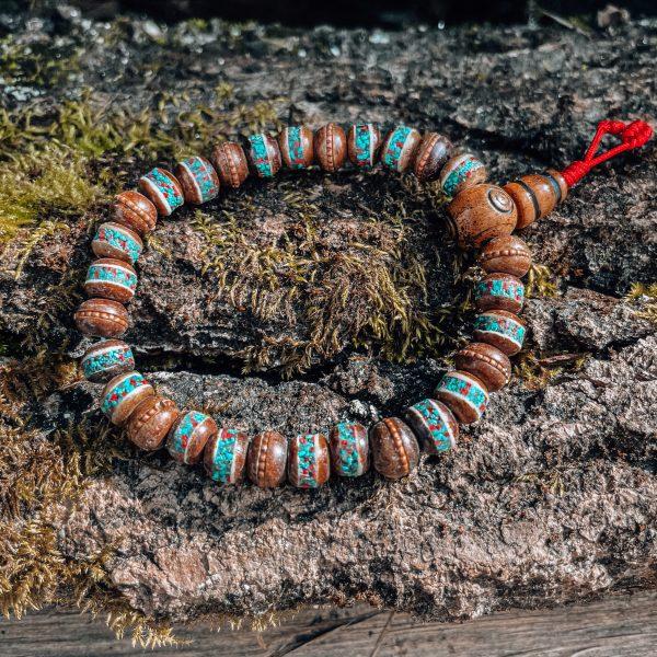 Pulseira Japamala khampa em osso de yak