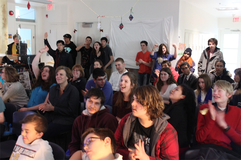 Full-school assemblies, extracurricular clubs, and celebrations (including our annual December talent show) happen in the Academy's central gathering space. It is in this safe and welcoming space that we come together once a month as a school to discuss issues that matter to high school students, from technology addiction and emotional intelligence to finding a summer job.