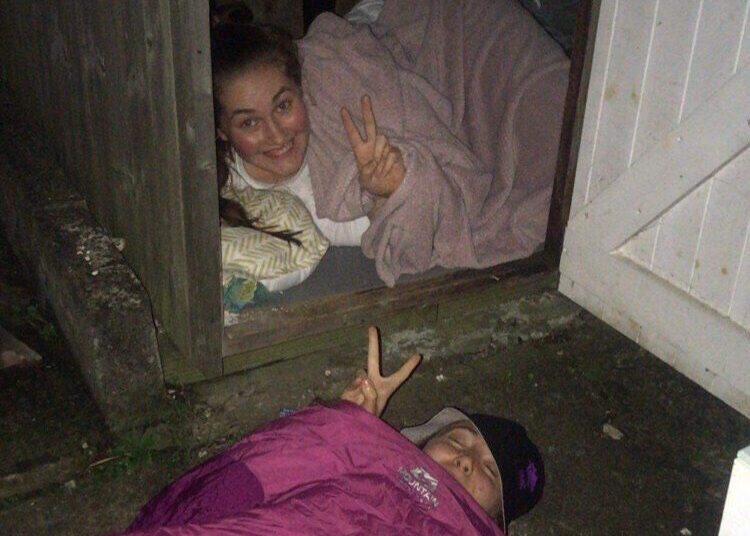 Young people sleeping outside