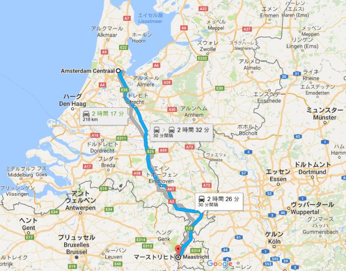 マーストリヒトまでの地図
