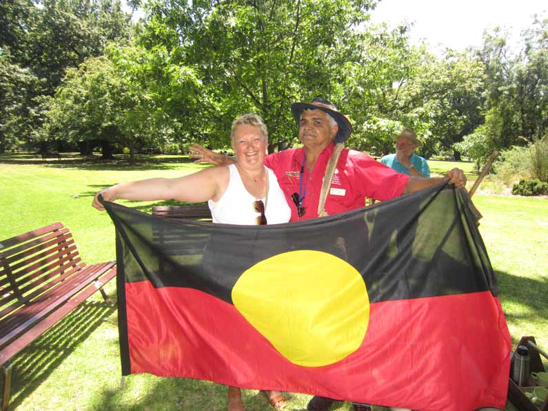 The Aboriginal flag. The black colour symbolises the Aboriginal people, red symbolises the red soil and the yellow circle is the Sun