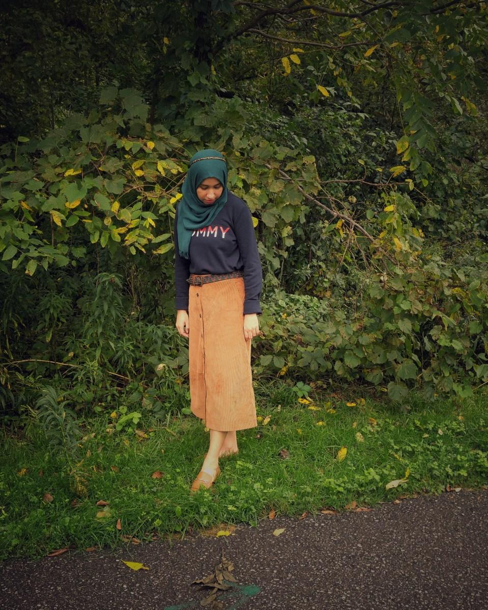 Hijab Girl Wearing Corduroy Skirt
