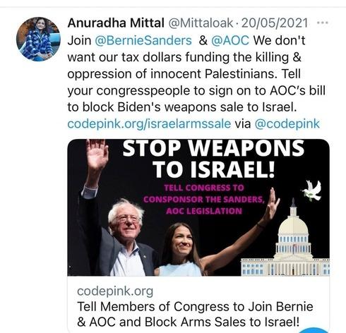 Tweet de Anuradha Mittal pidiendo que Estados Unidos deje de financiar a Israel en defensa.