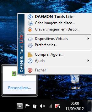 Daemon tools na barra de tarefas