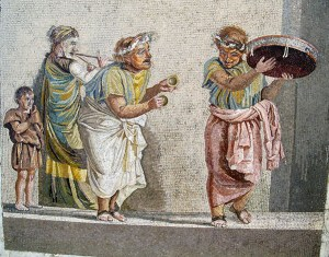 Mosaic tile image of three ancient Roman dancers and a little boy watching
