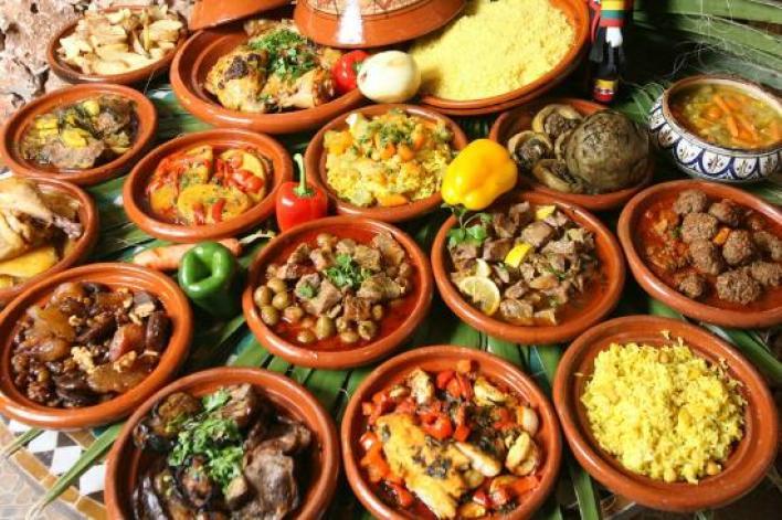 Assortment of Moroccan food.