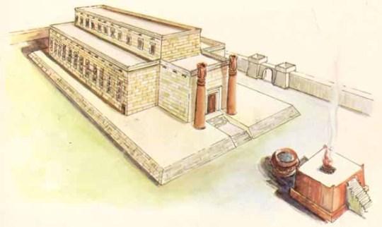 ภาพวาดของวิหารโซโลมอน สร้างขึ้นในศตวรรษที่ 8 ก่อนคริสตศักราช และถูกเผาในสองศตวรรษต่อมา