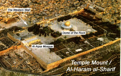 al-Haram ash-Sharif ที่ประกอบด้วย Dome of the Rock, มัสยิด al-Aqsa และ Buraq Wall
