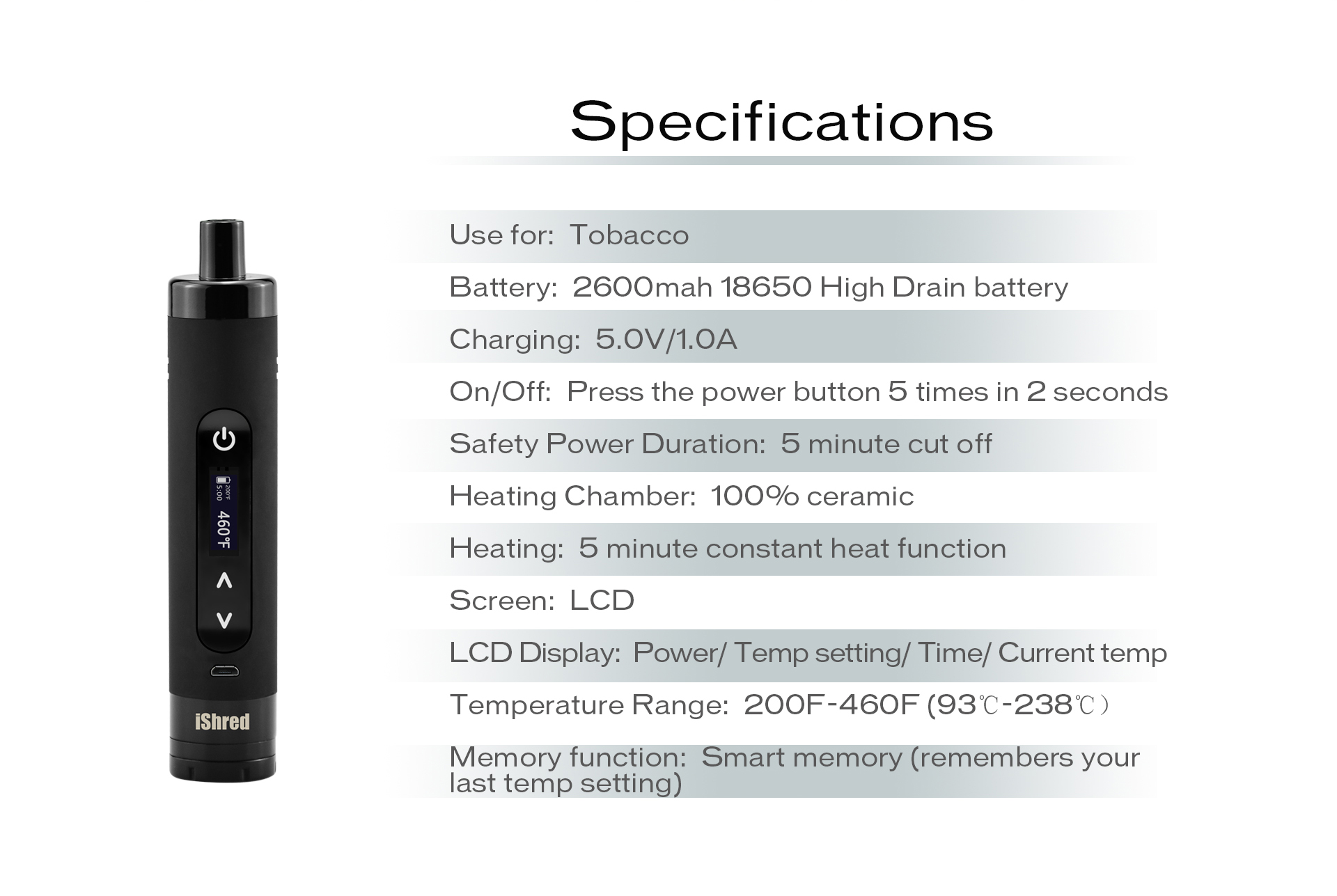 Yocan iShred Specifications