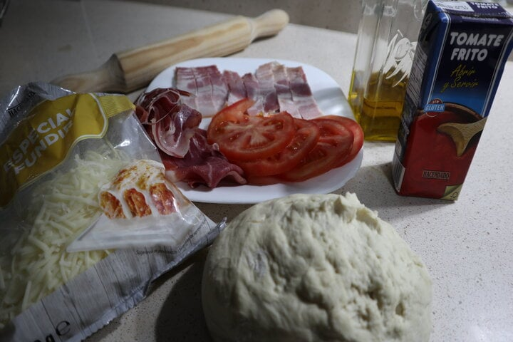 Ingredientes para hacer pizza campera en Thermomix