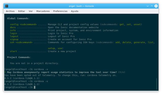 Cordova versión 8.1.2