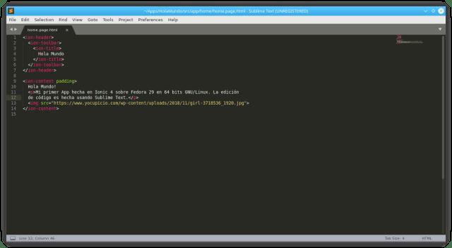 Código editado para la App HolaMundo
