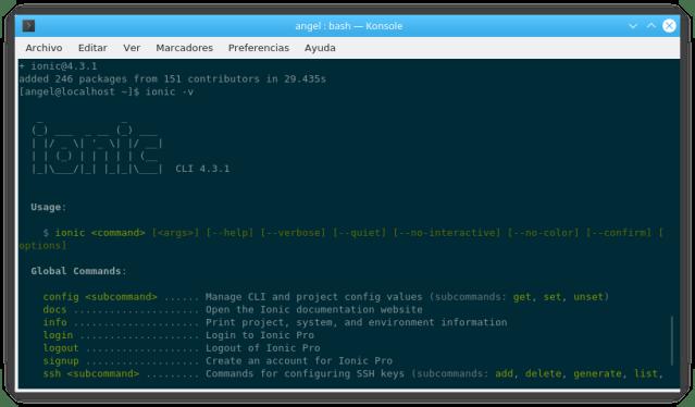 Versión 4.3.1 de Ionic