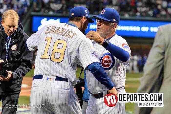 Joe Maddon-Ben Zobrist-Cubs ring ceremony