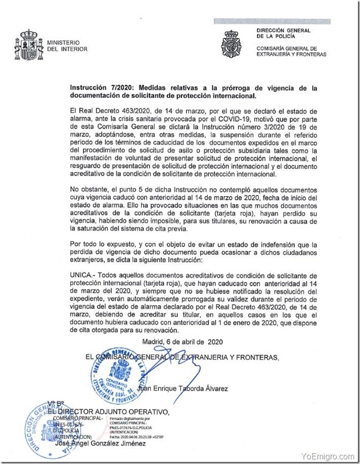 prorroga-tarjeta-roja-espana-estado-de-alarma-instruccion-7-2020
