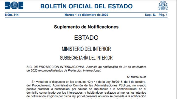 BOE de notificaciones de resoluciones de Protección Internacional