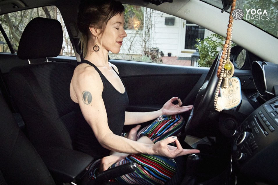 yoga in car