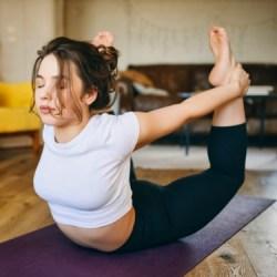 morning yoga pose bow
