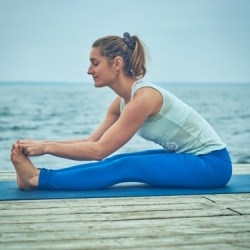 morning yoga pose forward bend