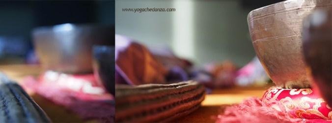 Bastone della pioggia e campane tibetane durante pratica yoga