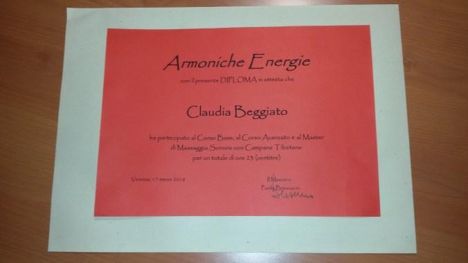 attestato CLAUDIA BEGGIATO Operatore Olistico professionale in Campane Tibetane