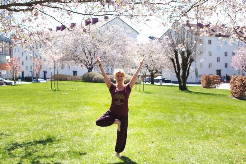 Kvinna i yogaposition bland körsbärsträd
