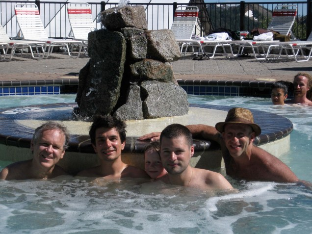 Hot Tubin with Rod Sidon and his son (Editor of Common Ground San Francisco),, (me) Brian Castellani, Mc Yogi, and Les Leventhal at the first Wanderlust.