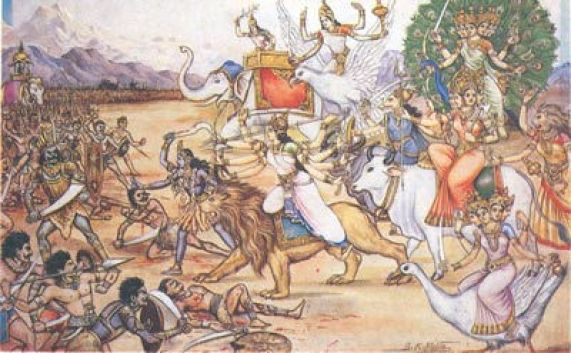 Kali & Durga Lead the Ashta Matrikas in Battle against the Demon army