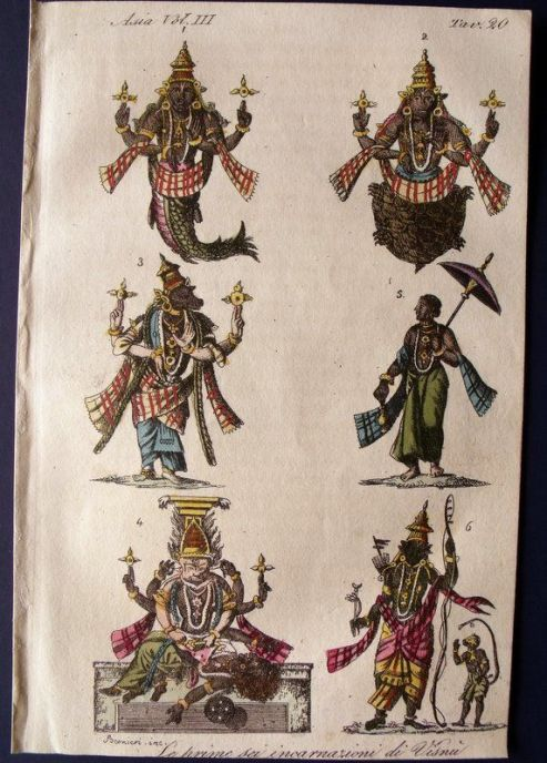 17-first-six-avatars-of-vishnu-depicted-by-giulio-ferrario-in-il-costume-antico-e-moderno-florence-1824