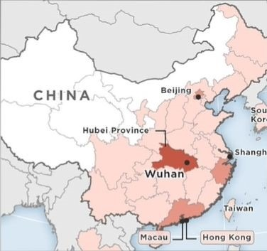 Wuhan on map of china