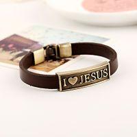 Pulsera de cuero I love Jesus