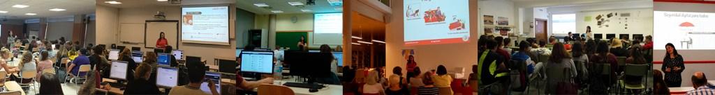 Collage con imágenes de Yolanda Corral impartiendo charlas y talleres.