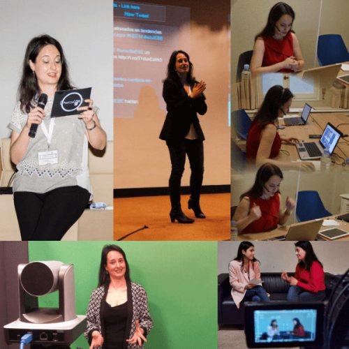 Varias instantáneas como presentadora, entrevistas y grabaciones.