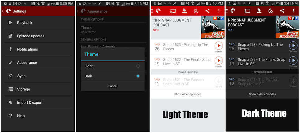 Image of setting to change theme in Pocket Casts app