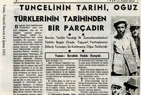 VATAN GAZETESİNİN 18 şubat 1953 tarıhli Tunceli Eki