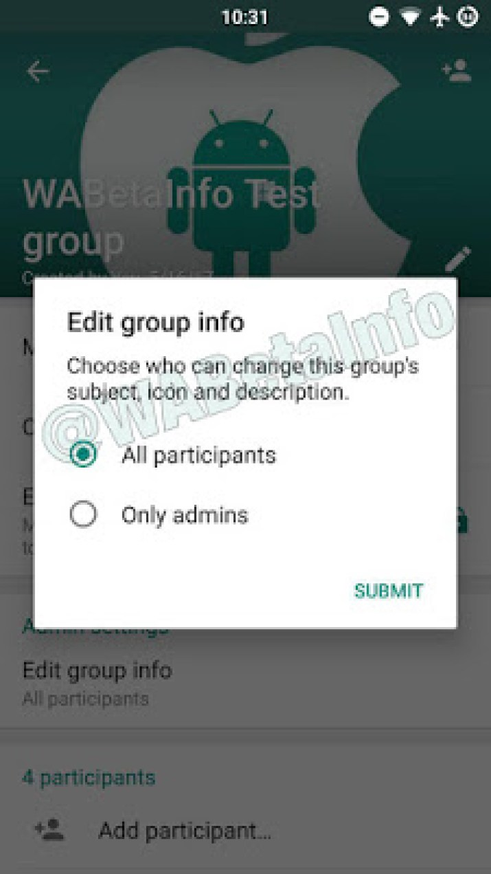 only admin can edit the group icon and infos