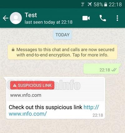 WhatsApp Future Update to detect Suspicious Link