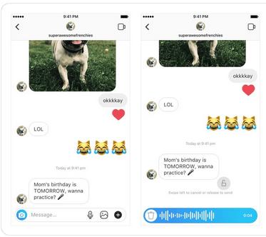 Instagram voice messaging
