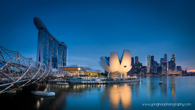 Singapore Skyline: Helix Bridge leading to MBS, Art Science Museum and CBD on the right